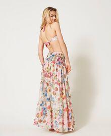Robe-jupe avec imprimé floral Imprimé Fleur Grande Rose «Fuchsia Pink» Femme 211LM2JFF-03
