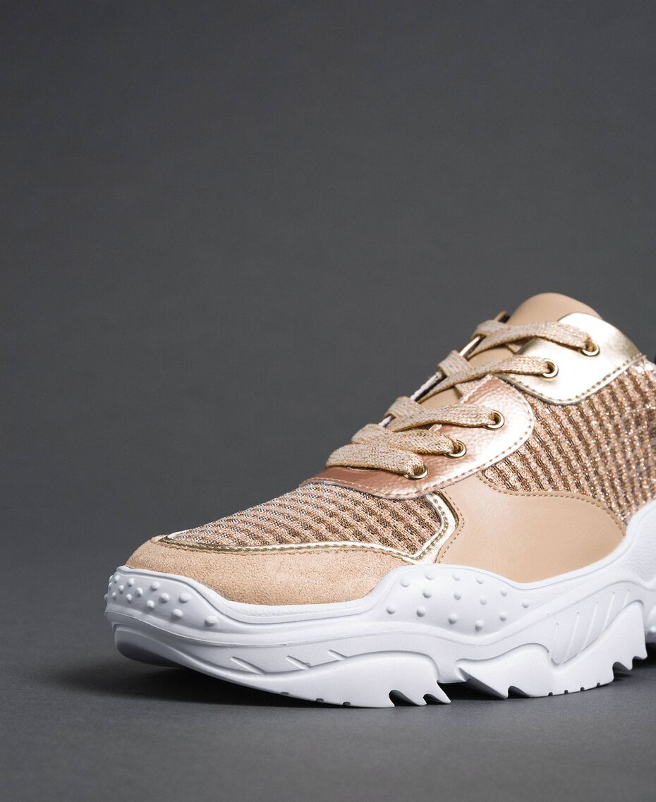 """Glitter fabric running shoes """"Pale Pink"""" Woman 192MCP070-03"""