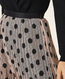 Pleated tulle skirt with lace Nude Beige Polka Dot Print Woman 202ST2065-04