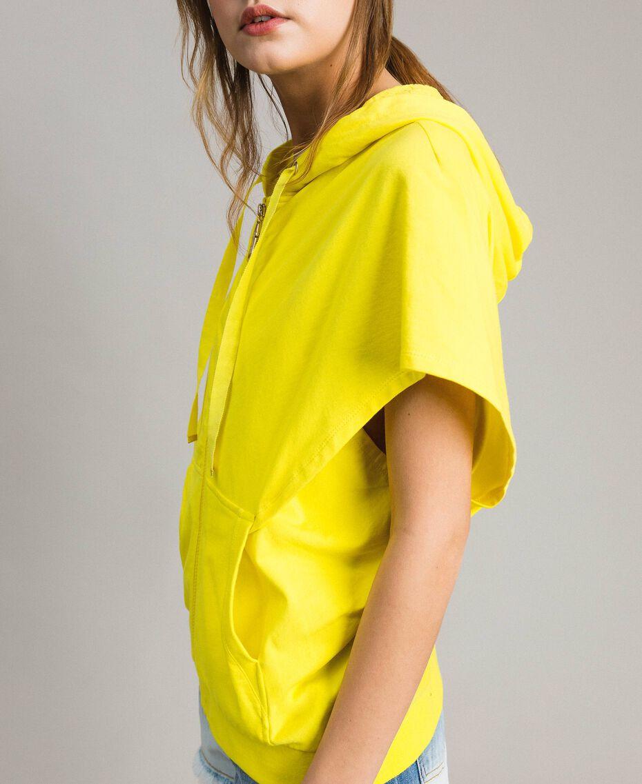 Sweatshirt with hood and zip Fluorescent Yellow Woman 191MT2342-01
