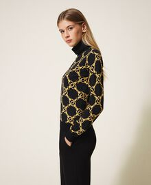 Turtleneck with chain print Ivory / Gold Large Chain Print Woman 202TT3340-04