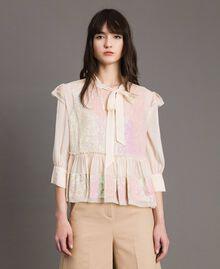 Blusa in georgette con paillettes Rosa Bocciolo Donna 191TP2582-02