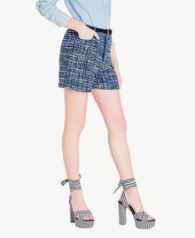Shorts aus Bouclé Mehrfarbig Lapislazuliblau Frau JS82MF-02