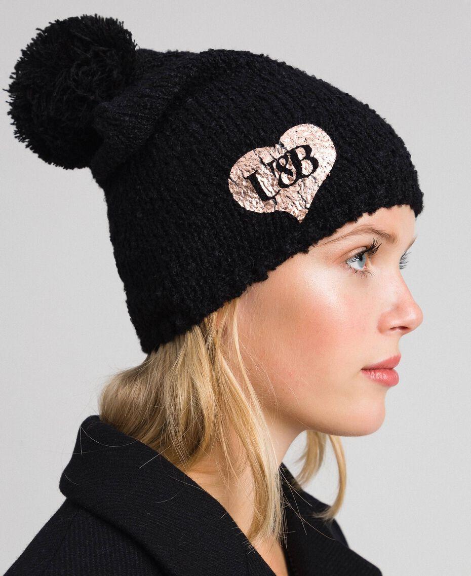 Bouclé yarn hat with heart Black Woman 192LL4ZCC-0S