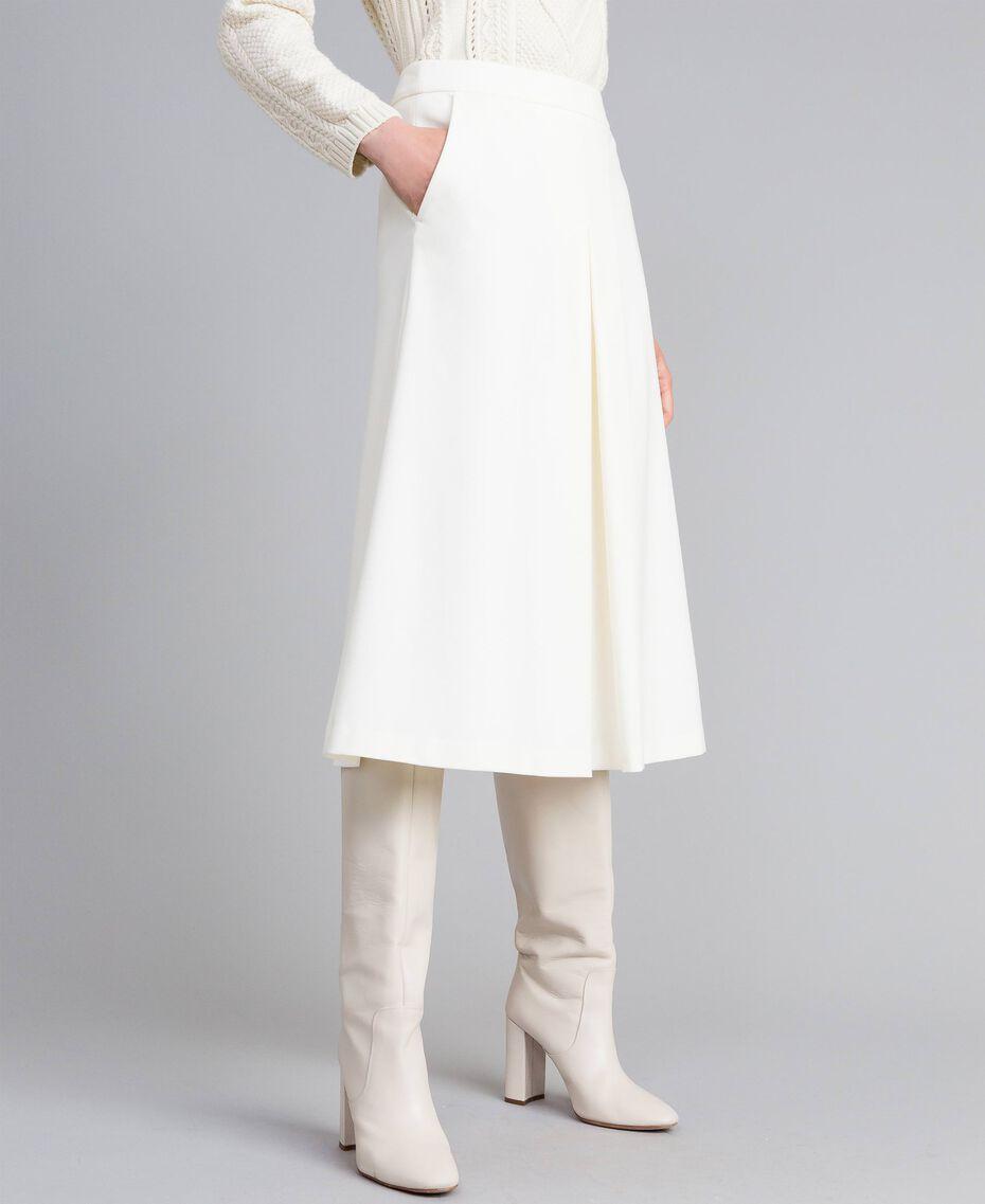 Jupe mi-longue en point de Milan Blanc Neige Femme PA8213-02