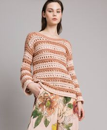 "Striped openwork top Two-tone ""Rose Sand"" Pink / ""Desert Rose"" Beige Woman 191MT3130-01"