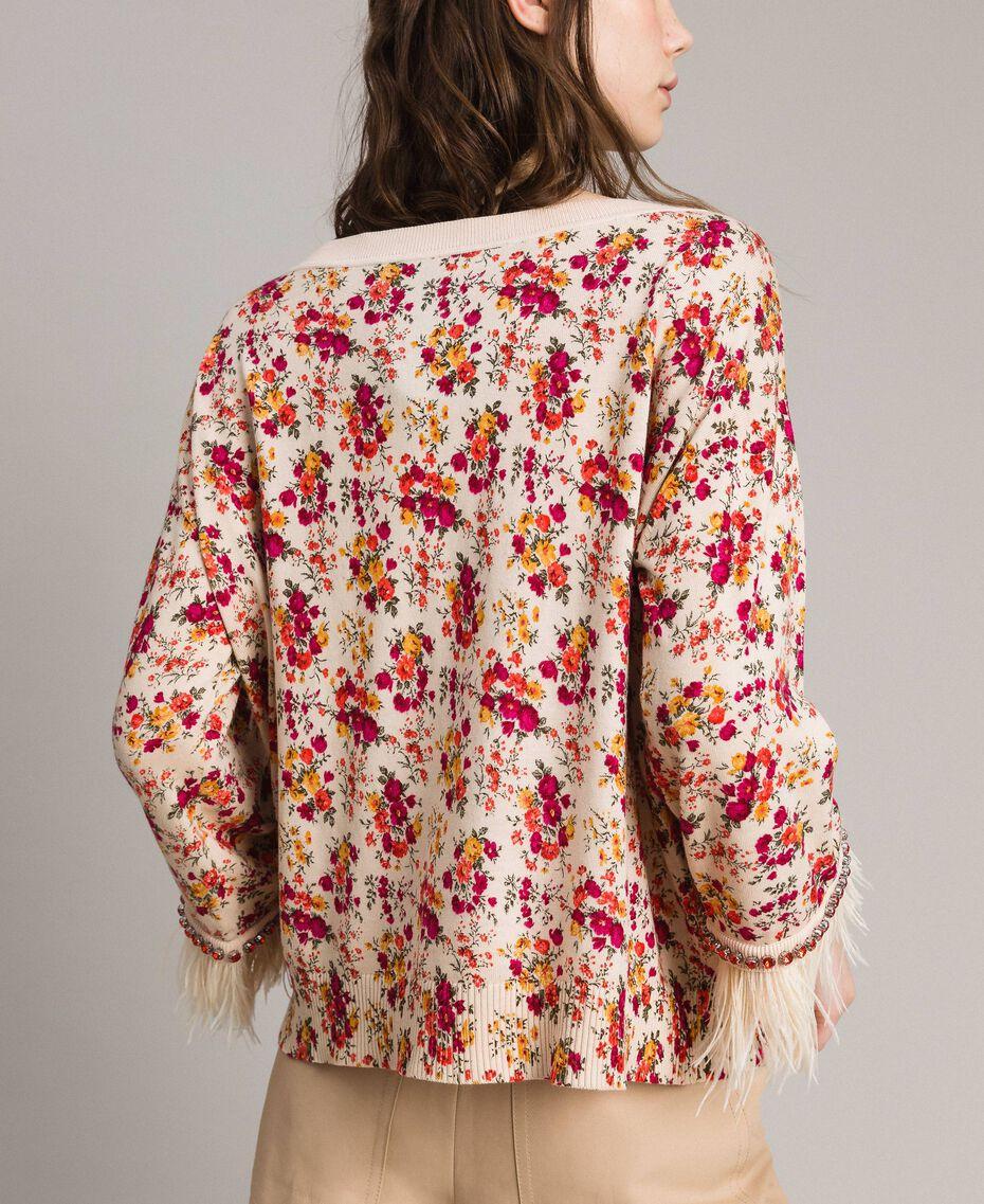 """Geblümter Cardigan-Pullover mit Federn und Strass Motiv """"Blossom"""" Pink Bouquet Frau 191TP3415-06"""
