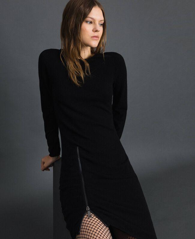 Robe avec fermeture éclair asymétrique Noir Femme 192TP3260-01