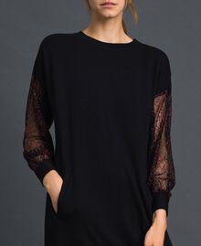 Robe en molleton avec dentelle bicolore Noir Femme 192LI24CC-05