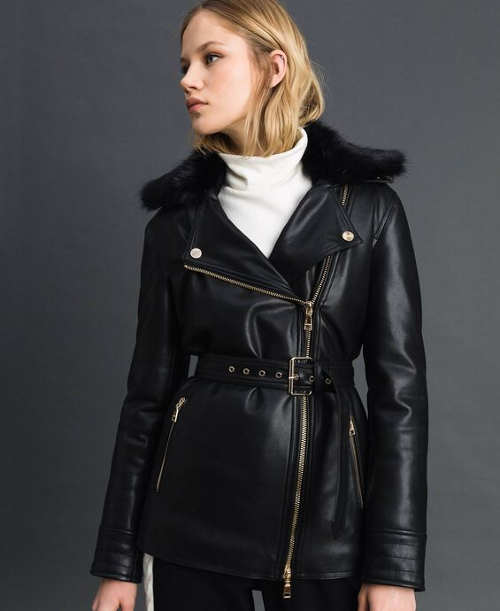 Long faux leather biker jacket with belt