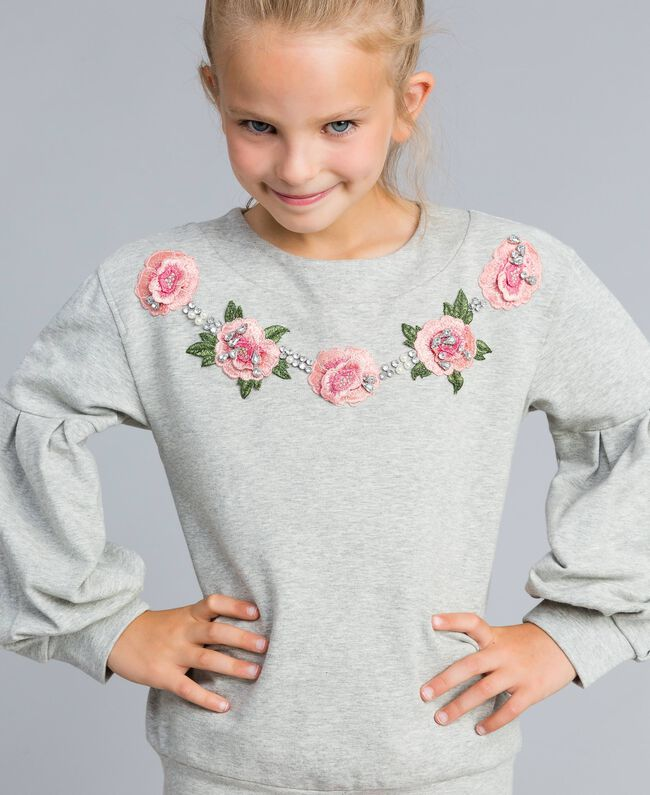 Embroidered stretch viscose sweatshirt Light Gray Mélange Child GA82SA-04