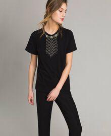 T-shirt avec broderie et franges Noir Femme 191TT2204-01