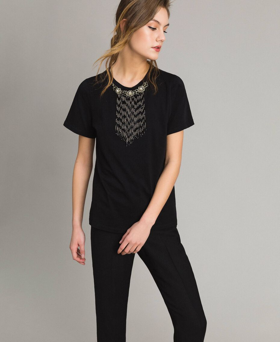 Embroidery and fringe T-shirt Black Woman 191TT2204-01
