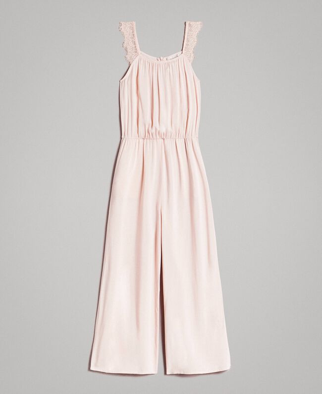 Flowing fabric and lace jumpsuit Blossom Pink Child 191GJ2431-01