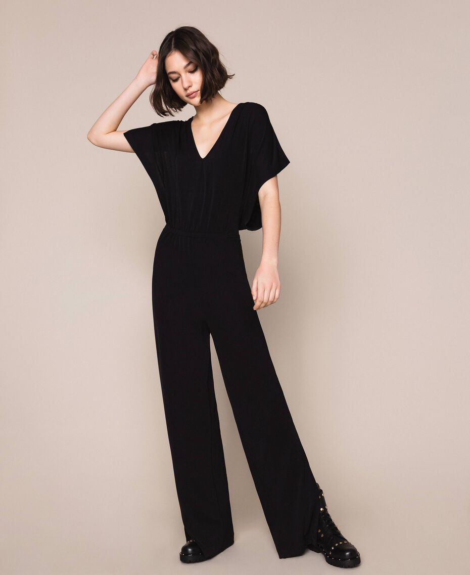 Jumpsuit with side slits Black Woman 201LM2EDD-01