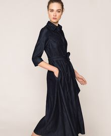 Длинное джинсовое платье-рубашка Синий Деним женщина 201MP2401-02