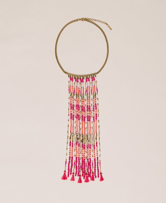 Ожерелье с каскадом из бусин и кисточками