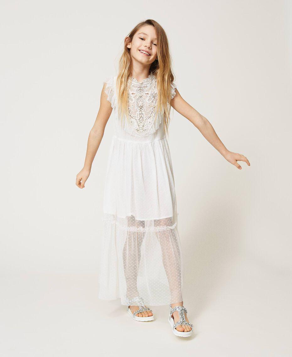 Kleid aus Tüll und Musselin mit Stickerei Mattweiß Kind 211GJ2Q3B-01