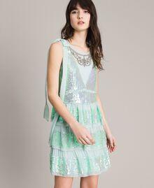 Georgette-Kleid mit Pailletten Aquamarin Frau 191TP2581-01