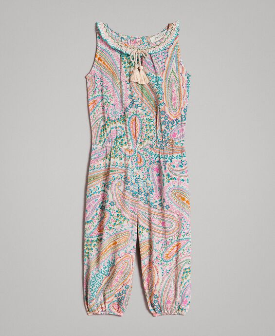 Viscose jumpsuit with paisley print