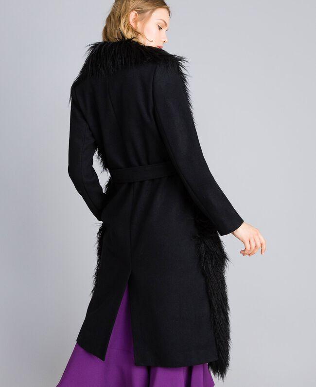 Manteau long en drap et fausse fourrure Noir Femme TA82A5-03