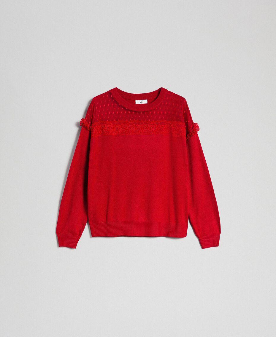 Maglia in misto angora con tulle e pizzo Rosso Ardente Donna 192LL3CUU-0S