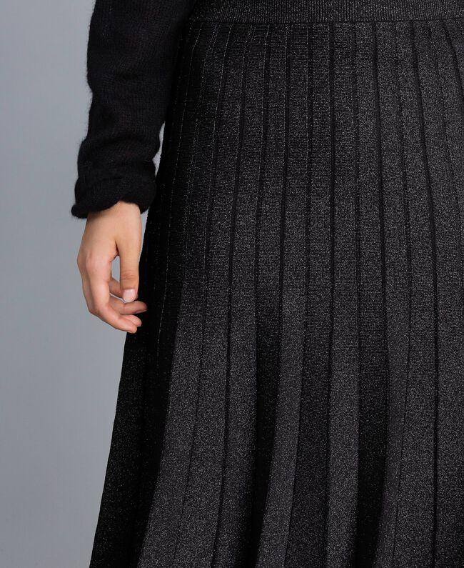 Jupe mi-longue en maille plissée lurex Noir Lurex Femme PA83CD-04