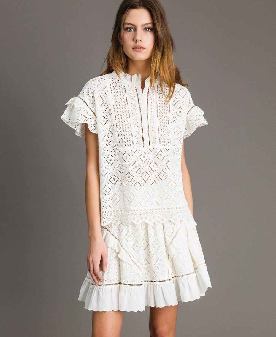 Broderie anglaise and ruffle blouse White Snow Woman 191TT2041-02