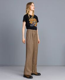 "Wool blend palazzo trousers ""Burnt"" Orange Small Check Jacquard Woman TA821S-03"