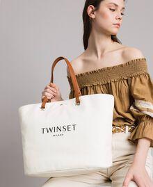 Großer Shopper aus Canvas mit Logo Schwarz Frau 191TO8202-0S