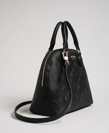 Faux leather heart print bawling bag Black Woman 192MA7011-02