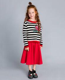 Pull en laine mélangée rayée Bicolore Noir / Blanc Cassé Enfant GA83GA-0S
