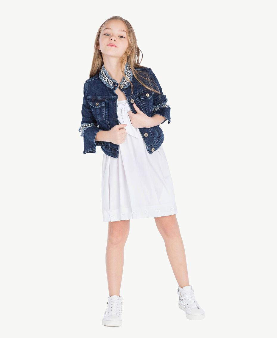 "Robe popeline Blanc ""Papers"" Enfant GS82QN-06"