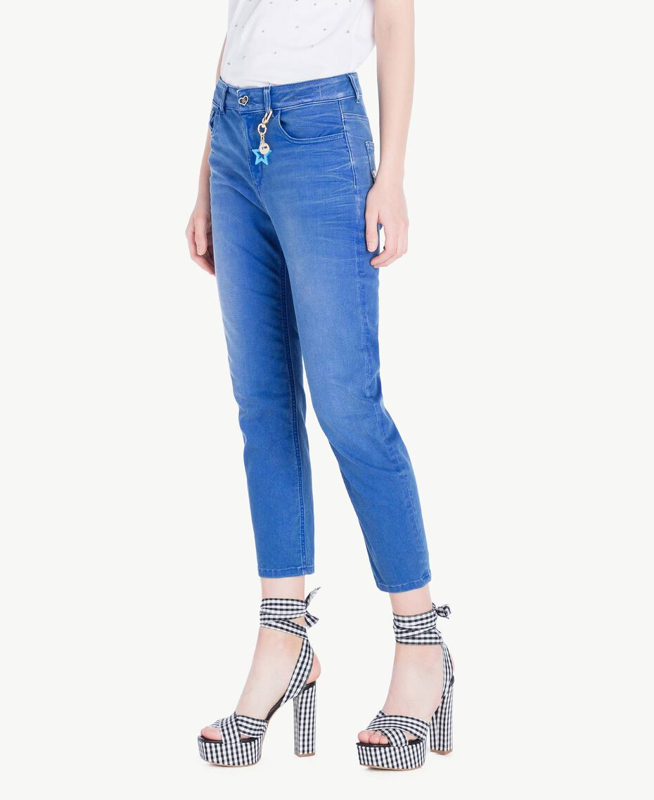 Girlfriend-Jeans Denimblau Frau JS82WQ-02