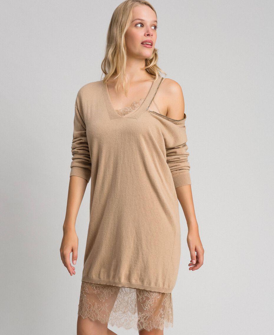 Cashmere blend maxi jumper Camel Woman 192TT3090-02