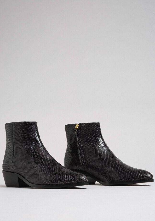 Animal print leather booties