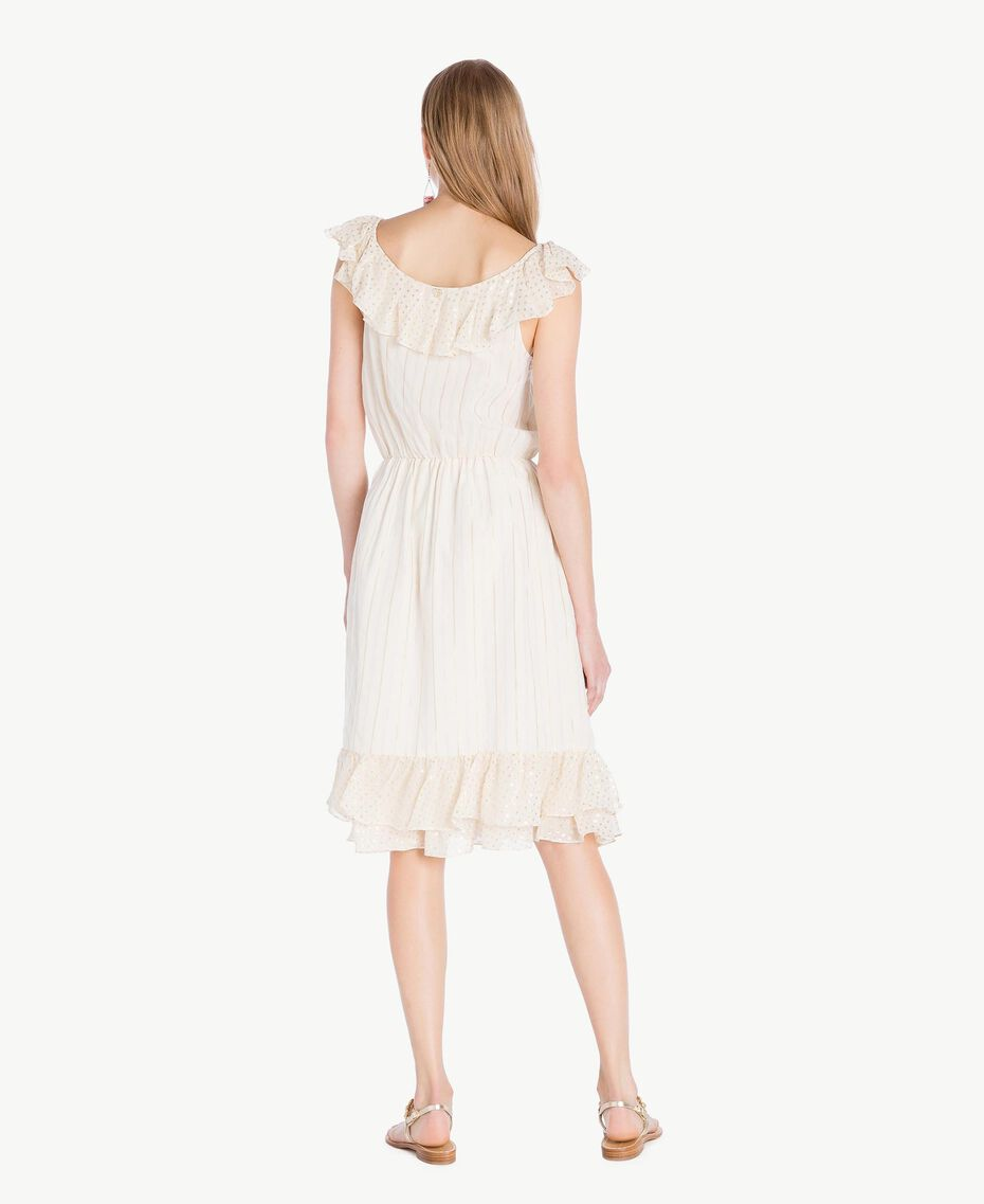 Kleid aus Jacquard Zweifarbig Meliertes Mittelgrau / Hellgold Frau TS8264-03