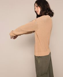 "Boxy jumper with floral patches and embroideries Dark ""Cremino"" Beige Woman 201TP3170-04"