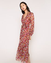 """Floral chiffon full-length gown """"Jasper"""" Red Pansies Print Woman 201TP2545-02"""