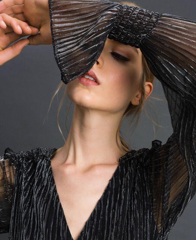 Robe en tulle crépon métallique Noir / Argent Femme 192MT2140-04