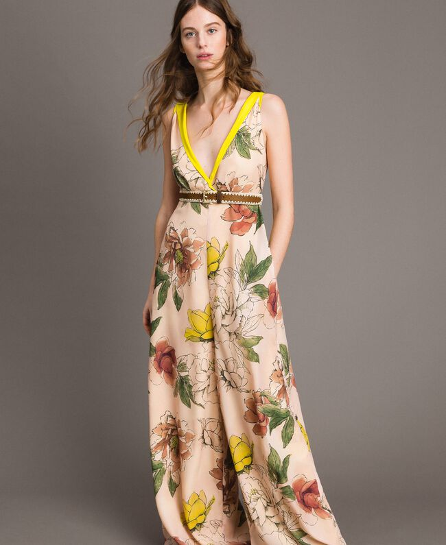 "Printed crêpe de Chine jumpsuit All Over ""Shell"" Beige Flower Print Woman 191MT2214-01"