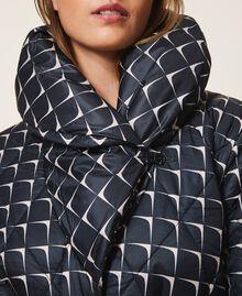 """Optical print puffer jacket Black /""""Nude"""" Beige Optical Print Woman 202ST2190-06"""