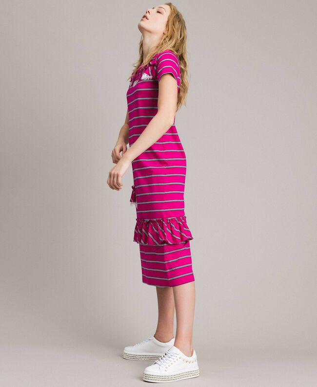 "Striped long dress with ruffle ""Electric Pink"" Fuchsia Striping Woman 191TP2281-03"