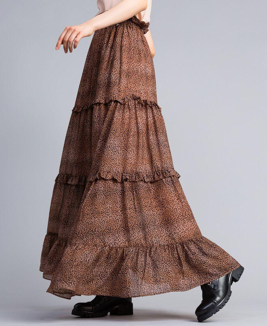 Jupe longue en mousseline avec imprimé animalier Petit Imprimé Léopard Femme SA82ME-02