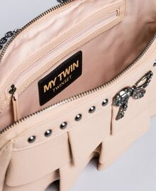 "Faux leather clutch bag with ruches ""Nude"" Beige Woman VA8PAR-05"