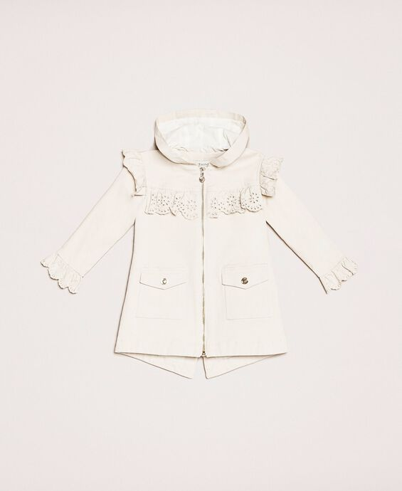 Canvas parka coat with broderie anglaise embroidery