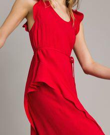 "Jacquard butterfly and flounce long dress ""Lipstick Red"" Woman 191TT2144-04"
