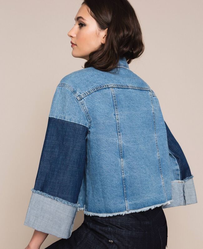 Giacca boxy in jeans color block Denim Blue Donna 201MP2290-03