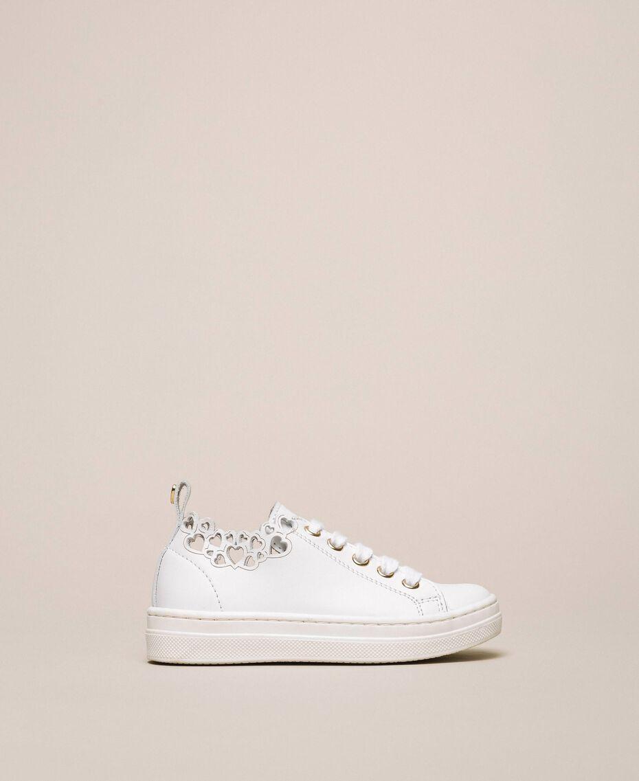 Sneaker aus Nappaleder mit Stickerei Weiß Kind 201GCB070-02
