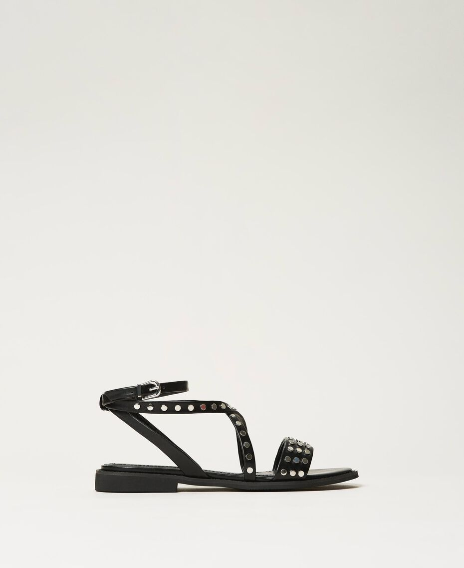 Sandals with studs Black Woman 211TCT122-01